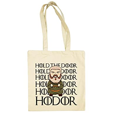 Bolsa de tela parodia Hodor frase Hold The Door - Beige, 38 ...