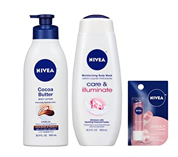 Bundle of Nivea Care & Illuminate Body Wash, Shea Butter Lotion & Shimmer Lip Care