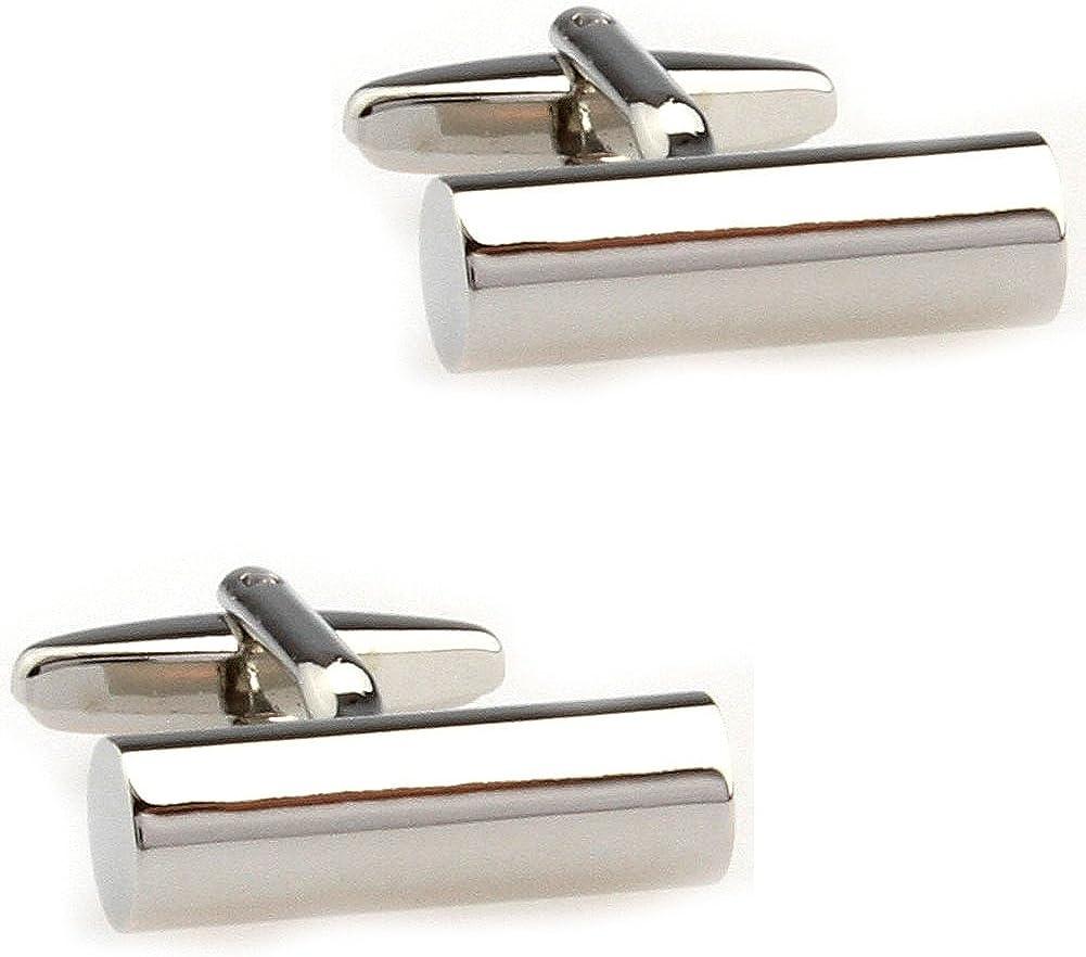 CIFIDET Cuff Links Fashion Mens Silver Cylinder Shirt Cufflinks with Gift Box