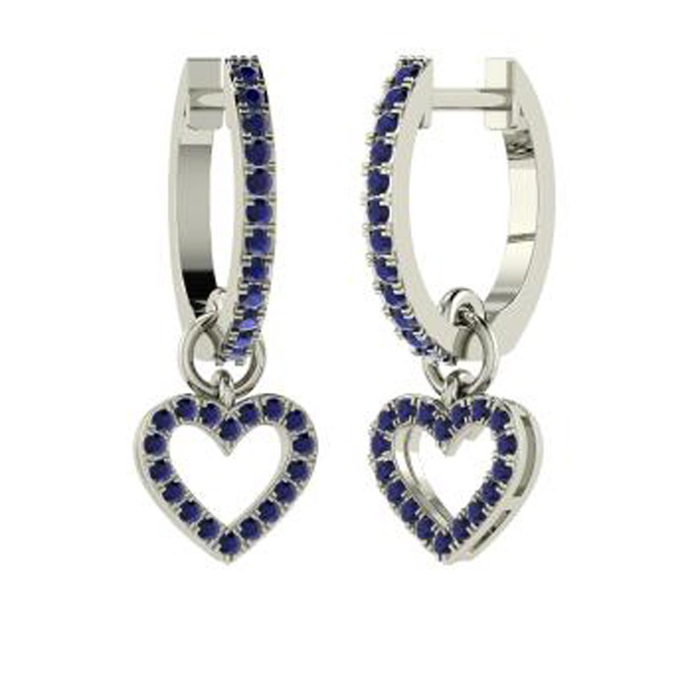 Dividiamonds 0.37 Ctw Round Cut Sim Sapphire Diamonds Heart Drop Earrings Solid 14K Gold Plated Sterling