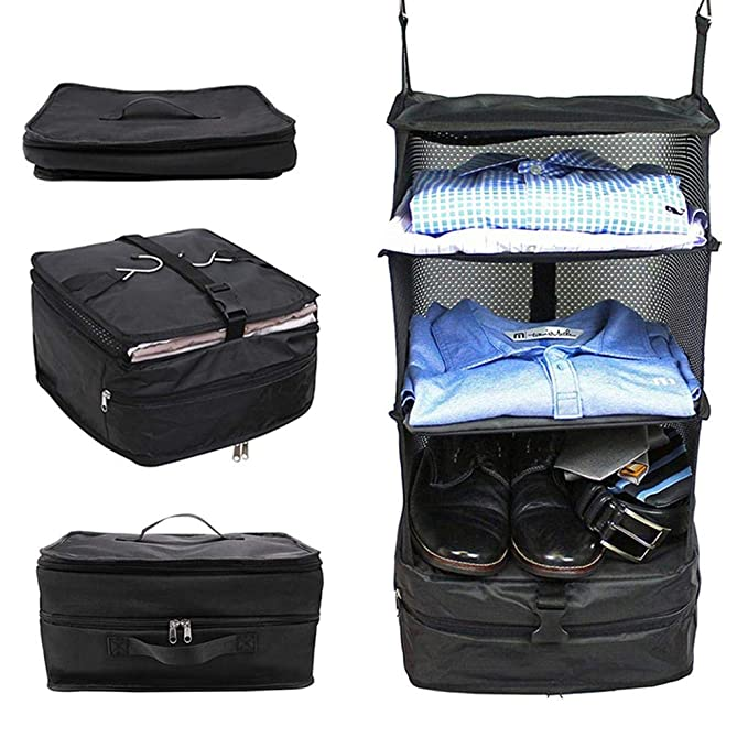 Amazon.com: AOLVO Portable Shelving Luggage, Suitcase Organizer, Hanging Closet 3 Shelves Packable Travel Wardrobe Bag & Packing Cube Organizer System: Home ...