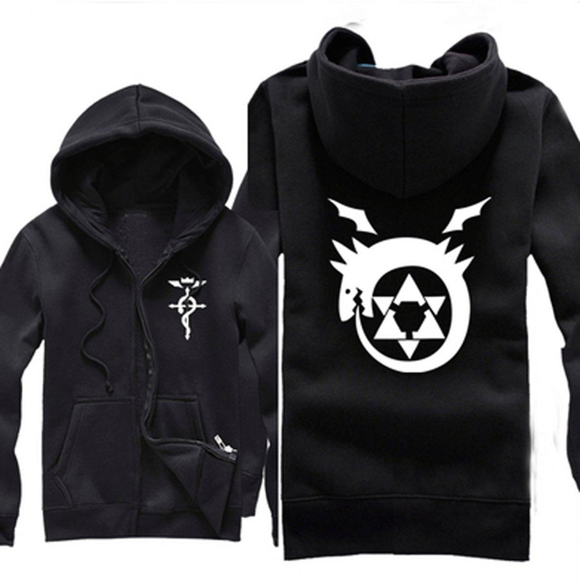 Camplayco Fullmetal Alchemist Logo Cosplay Black Hoodie Warm Coat Size XXL