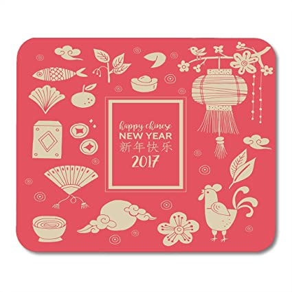 Nakamela Mouse Pads Rooster Orange Food Chinese New Year Holiday Hand Drawing Red China Flower
