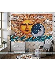 نسيج الشمس والقمر والبحر - متعدد الوظائف للتعليق على الحائط فن هندي لديكور المنزل وغرفة النوم وديكور غرفة المعيشة والشرفة وغرفة شفافة بفاصل