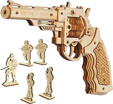 2 X Pistole 30 cm PISTOLA SPARA ELASTICI IN LEGNO GIOCATTOLO IN LEGNO bambino