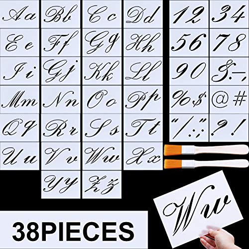 - Letter Stencils, Alphabet Templates, Alphabet Stencils Reusable Plastic Art Craft Stencils with Numbers (Style C, Size 3)
