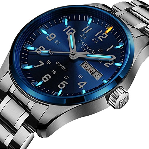 Sapphire Mens Quartz (Swiss Brand Analog Quartz Watch Tritium Gas Luminous Silver Stainless Steel Military Watch for Men (Blue Light))