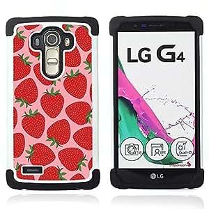 """LG G4 H815 H810 H811 LS991 LS986 US991 H815 U812 - 3 en 1 impreso colorido de Altas Prestaciones PC Funda chaqueta Negro cubierta gel silicona suave (Strawberry Summer Sun Pink Bayas"""")"""