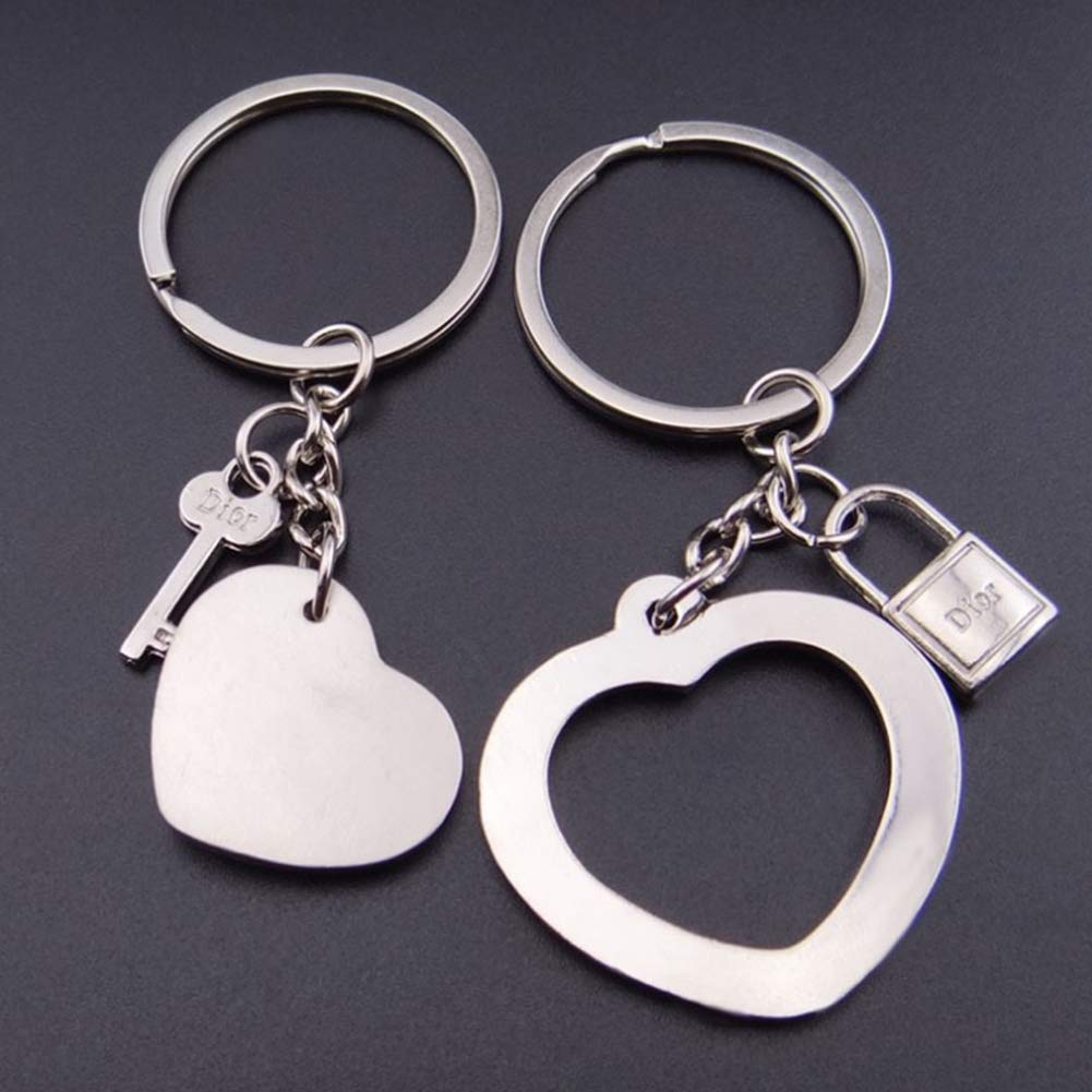 2 Pc of Love True Couple Keyrings Key Lock Heart Key for Valentine's Day Gift by Wudi (Image #2)