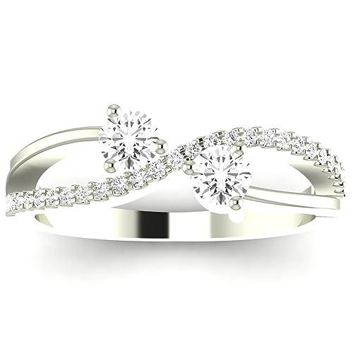 Near 1 Carat t.w. Twisting Infinity 2rue Love 2 Stone Collection Round 14K White Gold Diamond Engage...