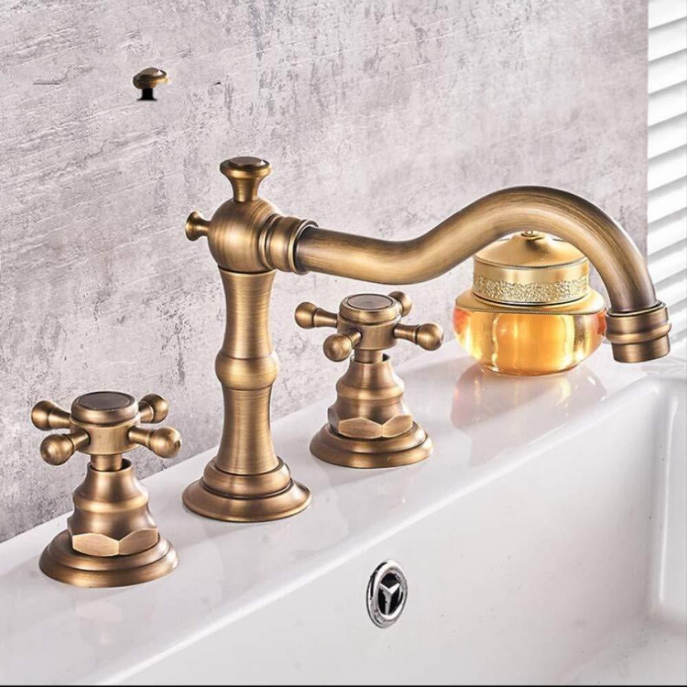 Lddpl 3 Pcs Antique Brass Crane Deck Mounted Bathroom Basin Mixer Tap Bath Basin Sink Vanity Faucet Water Tap Bath Faucets