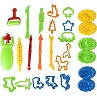 Outils de Pâte À Modeler 26 pièces Moules Kit pour Argile Pâte à Modeler en Plastique Rollers Pâte Moules Cutters DIY Emporte-Pièce Clay et Pâte Modélisation Outils pour Enfants Tout-petits X 1