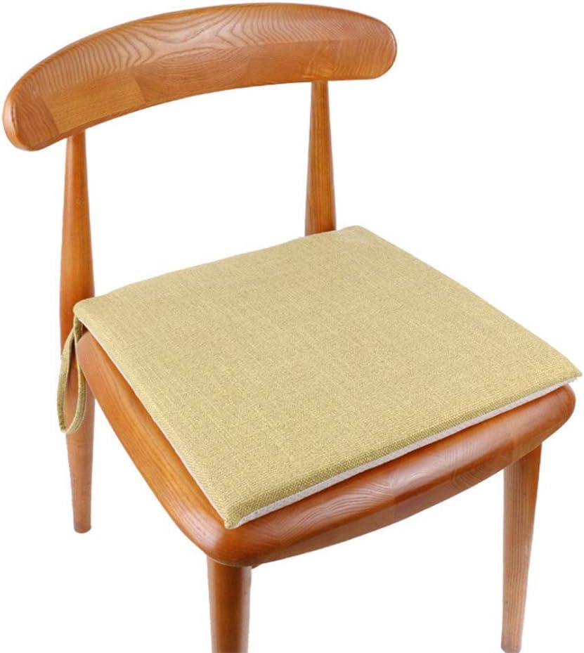 Lesong - Cojines de asiento acolchados de lino y algodón duro con lazos, cómodos cojines antideslizantes para sillas de comedor, cocina, jardín, decoración de 2 piezas, amarillo claro, 40 x 40cm x 3cm