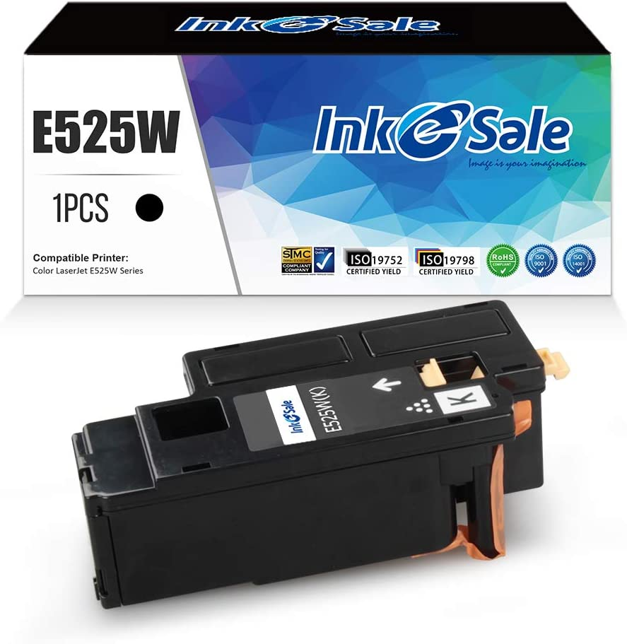 INK E-SALE Compatible Toner Cartridge for Dell E525W E525 525W 525 Toner Cartridge 593-BBJX Using with Dell Laser E525W Printer Ink Black 1 Pack