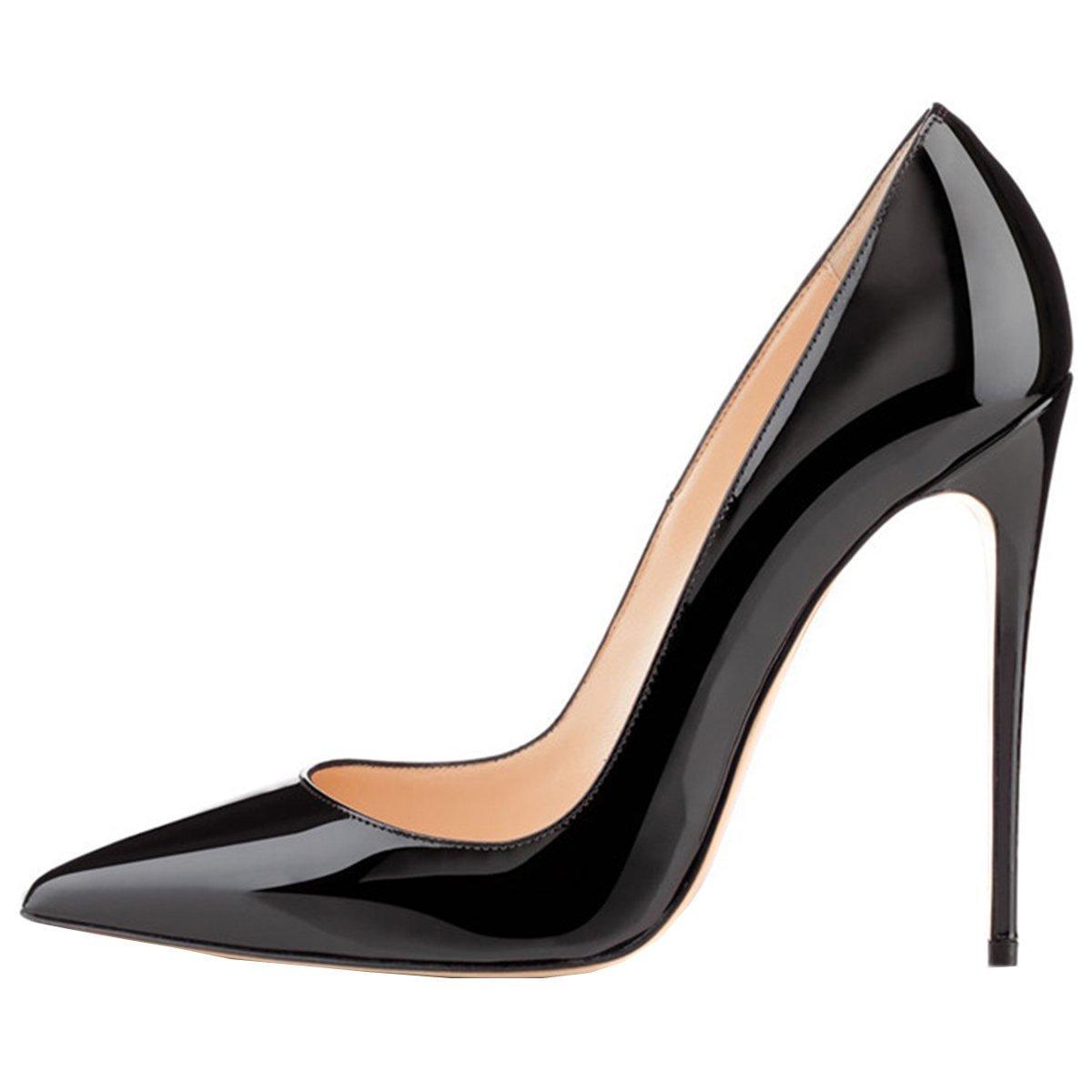 Emiki - Zapatos de tacón con punta cerrada Mujer EU42=26.8cm|negro