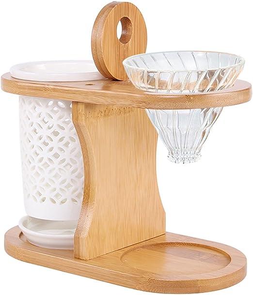 Superdream - Soporte doble de madera de bambú con cerámica para ...