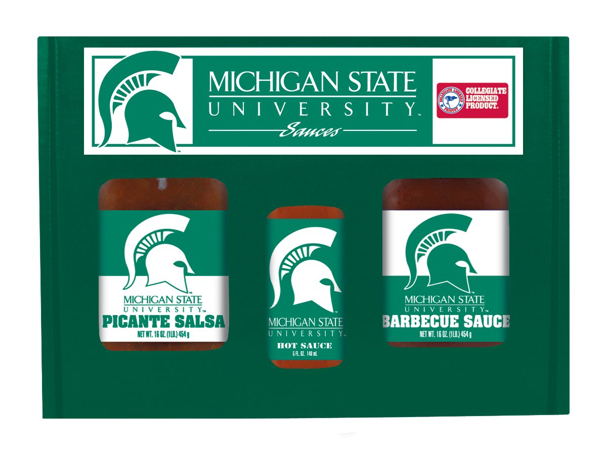Michigan State Spartans NCAA Tailgate Kit (5oz Hot Sauce, 16oz BBQ Sauce, 16oz Picante Salsa)