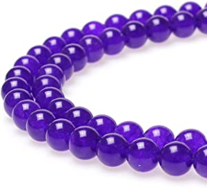 JARTC Natural Stone Beads Purple Jade Round Loose Beads for Jewelry Making DIY Bracelet Necklace (6mm)