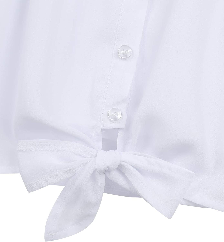 TiaoBug Blusa Niña Manga Corta de Gasa Camisa Blanca Otoño ...
