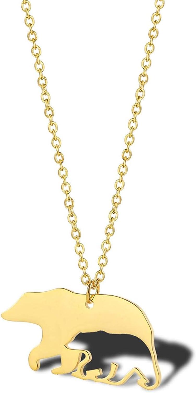AnazoZ Colgantes Acero Inoxidable Mujer Colgante de Mujer Animal Oso Colgantes Mujer Plata/Oro/Oro Rosa