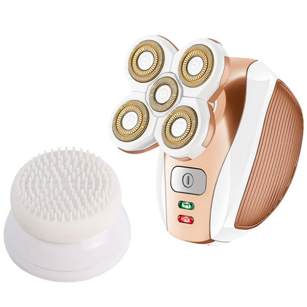 LGF Helmet Multifunctional Women's Electric Shavers Clean Waterproof USB Rechargeable Five Head Cleaning Replacement Wet and Dry Woman Gold