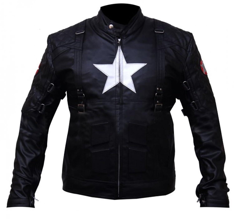 Captain America 2 Winter Soldier Chris Evans Black Leather Jacket