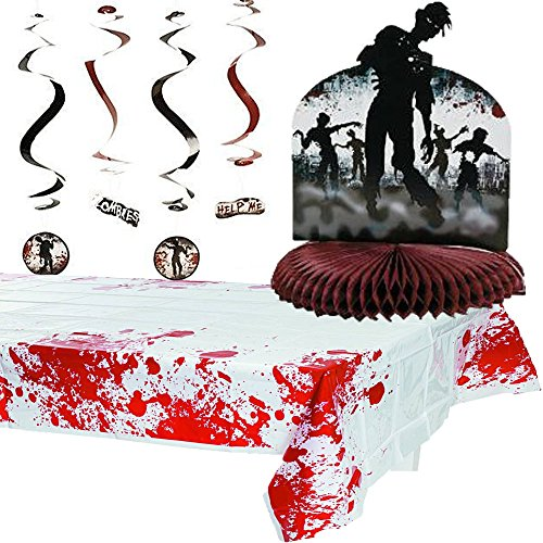 [Zombie Bash Party Pack: Includes Centerpiece, Hanging Decorations and Table Cover] (Zombie Decoration)