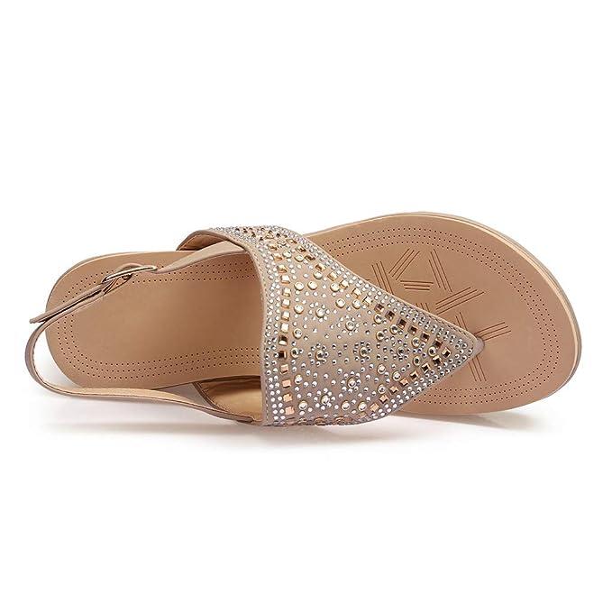 Amazon.com: Sandalias planas para mujer T-Strap Tanga ...