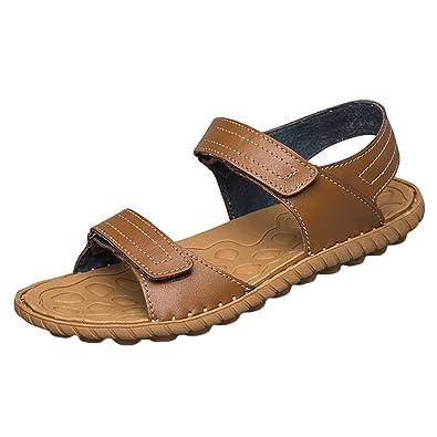 Antidérapant En Chaussures Pu Cuir Youjia Hommes Plates Sandales MSVGUpqz