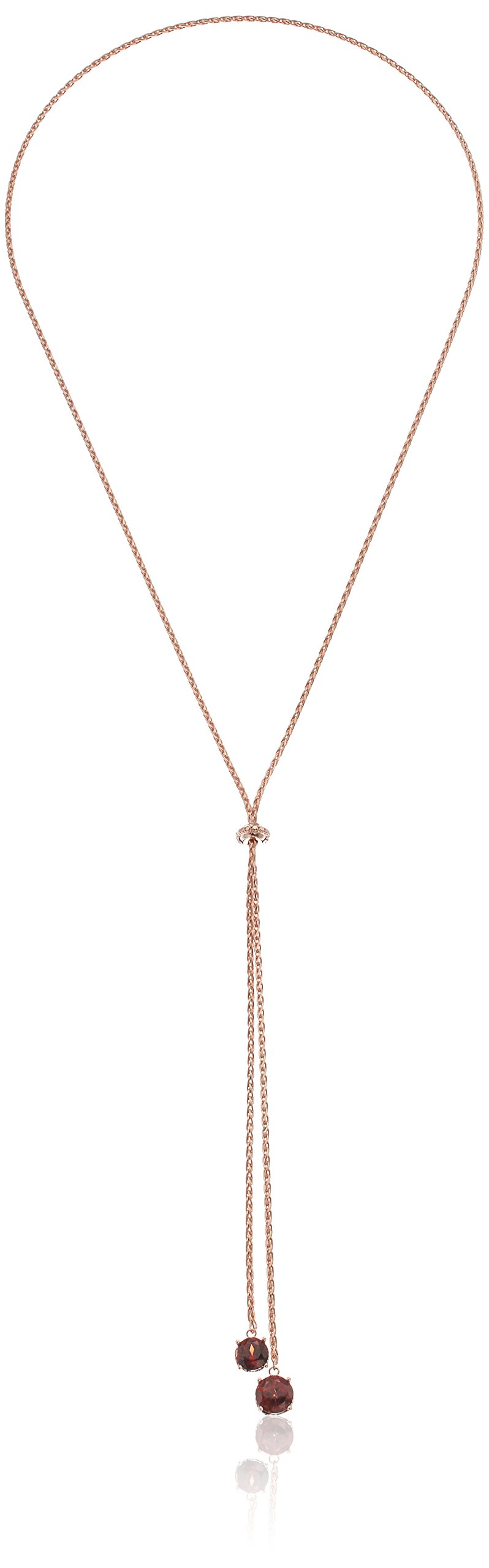 14k Rose Gold Plated Sterling Silver Genuine Garnet and Diamond Accent Lariat Necklace, 26''