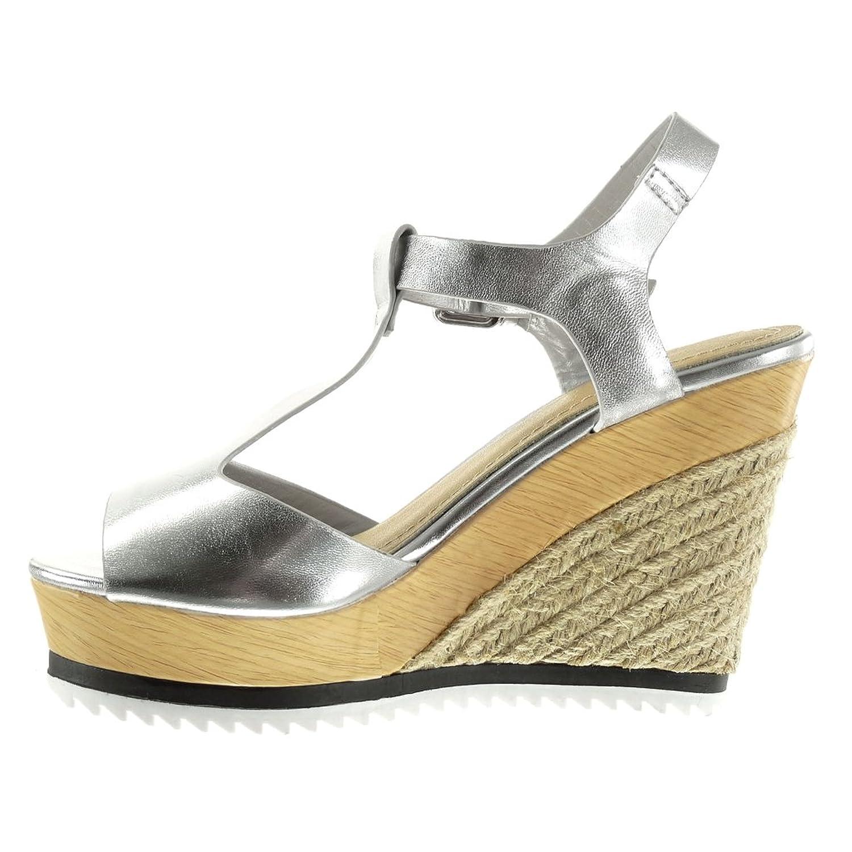 Angkorly - Zapatillas de Moda Sandalias alpargatas zapatillas de plataforma correa Peep-Toe mujer cuerda brillantes madera Talón Plataforma 11 CM - Plata L168 T 40 lAOmhKbp