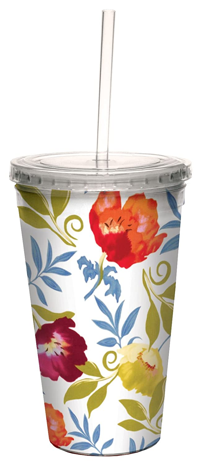 16-Ounce Tree-Free Greetings cc33717 Trefoil White Floral by Nel Whatmore Artful Traveler Double-Walled Cool Cup with Reusable Straw
