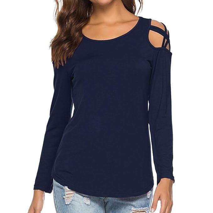 Manga Larga de la Moda de Mujeres Camiseta Strappy Cold Shoulder Tops Blusas ❤ Manadlian: Amazon.es: Ropa y accesorios