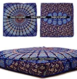 Third Eye Export Indian Mandala Floor Pillow Square Ottoman Pouf Daybed Oversized Cushion Cover Cotton Seating Ottoman Poufs Dog/Pets Bed (Blue Cover Only)