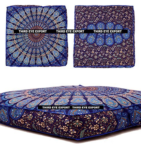 Third Eye Export Indian Mandala Floor Pillow Square Ottoman Pouf Daybed Oversized Cushion Cover Cotton Seating Ottoman Poufs Dog/Pets Bed (Blue Cover Only) (Pillow Dog Tapestry)