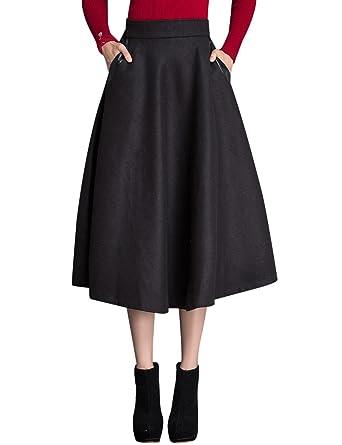 ae9822ea94ba Tanming Women s High Waist A-Line Wool Blend Long Midi Skirt at Amazon  Women s Clothing store
