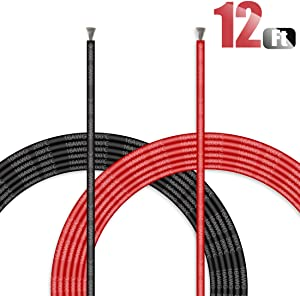 Hilitchi 16 Gauge 12Feet Silicone Wire High Temperature Resistant Super Soft Flexible Silicone Wire [6ft Red and 6ft Black]