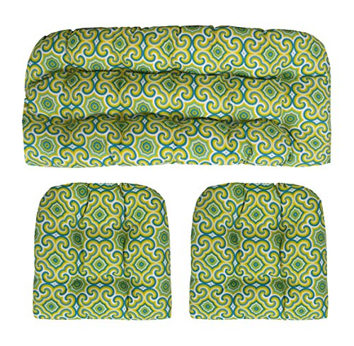 (RSH Décor Indoor Outdoor Wicker Tufted 3 Piece Set 1 - Loveseat Settee & 2 - U - Shape Chair Cushions - Osborne Fresco Limelight (41