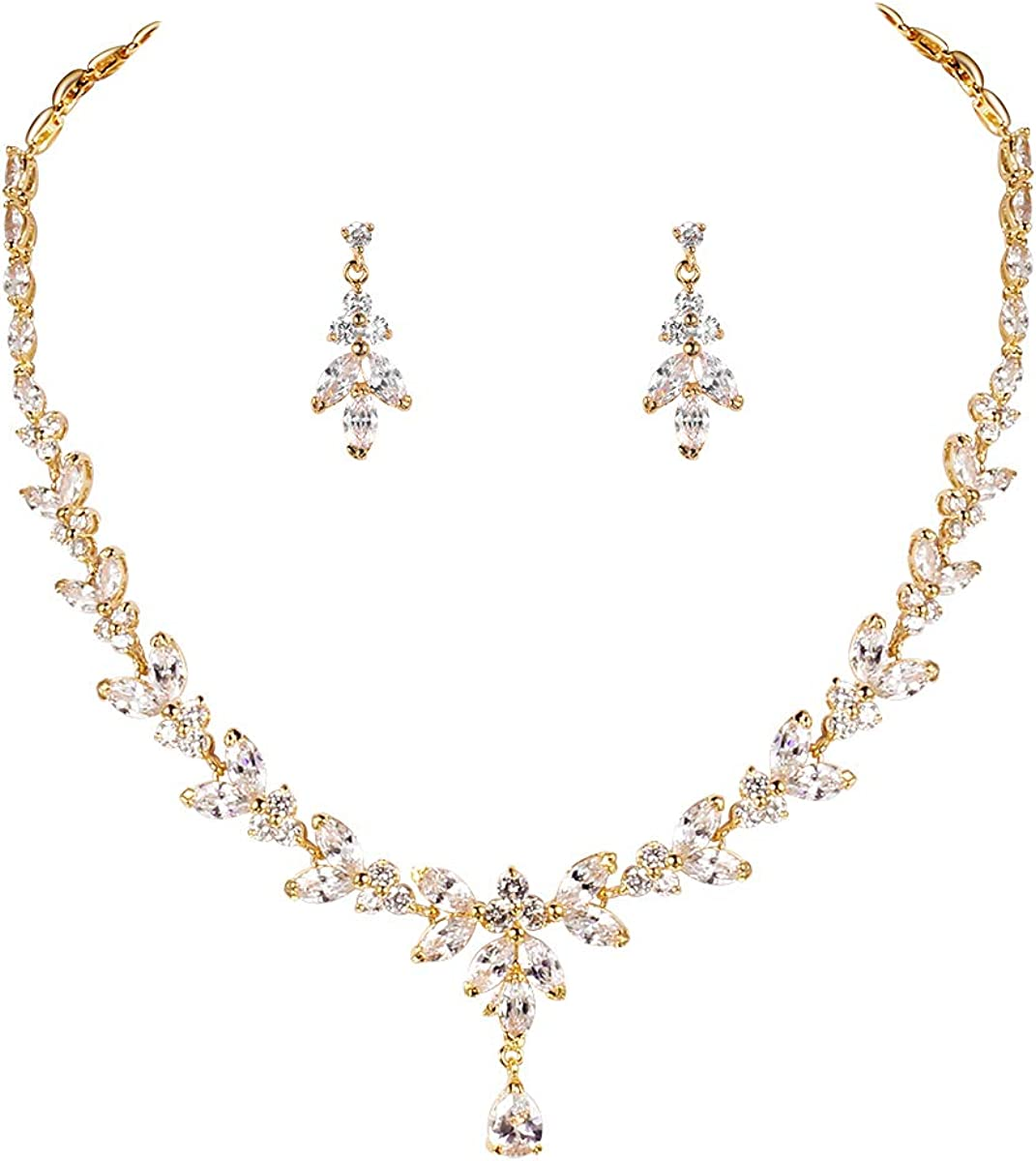 "CUBIC ZIRCONIA MARQUISE SHAPE 17"" NECKLACE IN GOLD PLATED WITH EARRINGS"