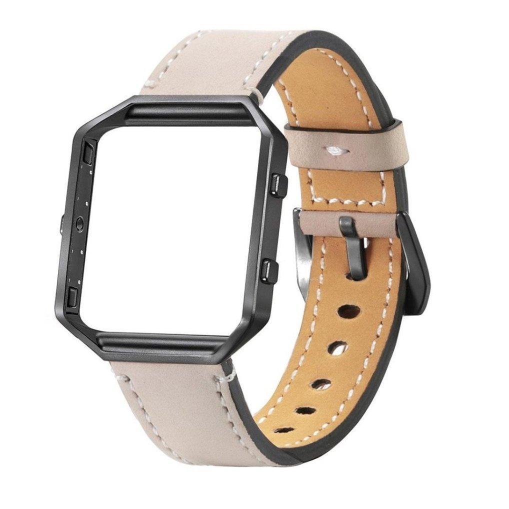 新しいソフトレザーAppoiスポーツ交換Wristbandsメタルフレームfor Fitbit Blaze Smart FitnessバンドWatch Beige/black Frame Beige/black Frame B074V5G59Y