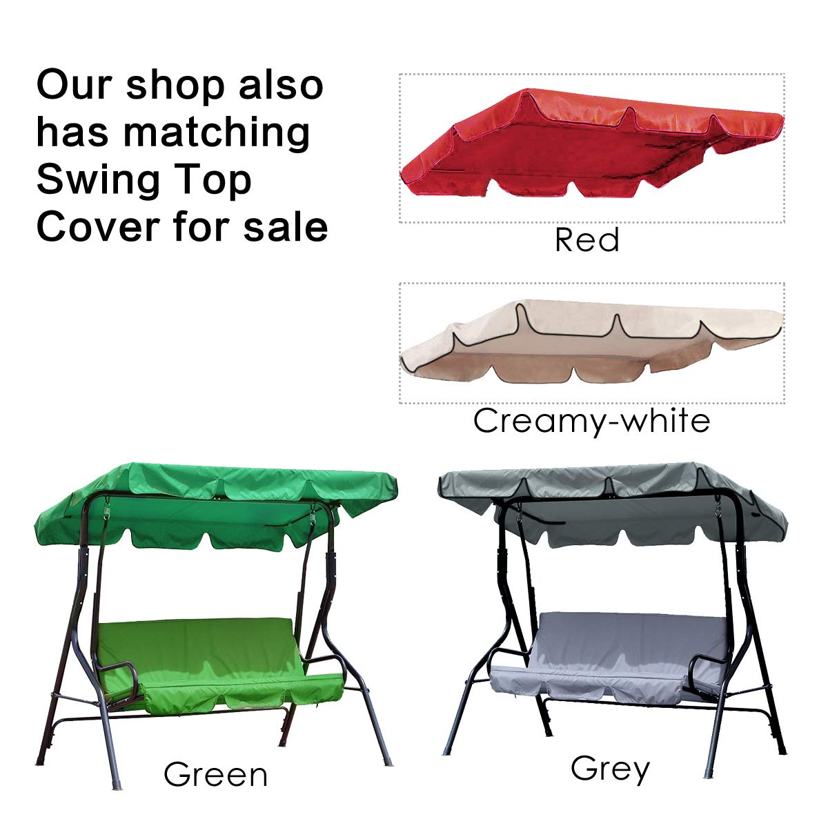 Essort Swing Canopy, 2 to 3 Seaters Waterproof Anti-UV Swing Top Cover Canopy Replacement for Outdoor Porch Patio Swing and Garden Hammock, 75'' × 52'' × 5.9'' Grey by ESSORT (Image #7)