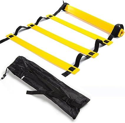 Imagen deSKL Velocidad Escalera de Agilidad 6m 5m 10peldaños 12peldaños formación Escalera para Velocidad de fútbol Baloncesto Fútbol Fitness Entrenamiento pies con Bolsa de Transporte–15pies