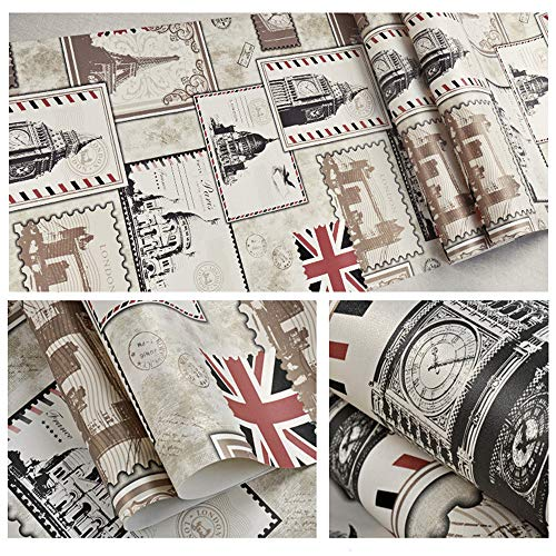1x Roll Wallpaper Waterproof, Oil-proof, Heat Insulation, Fire prevention, Moisture Proof Ikevan American Retro Wallpaper Roll Living Room Non-self-adhesive 20.8x390.7inch