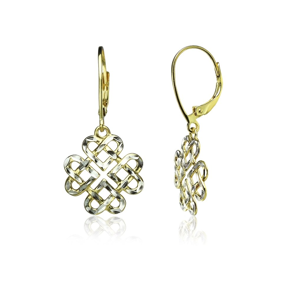 Yellow Gold Flashed Sterling Silver Two-Tone Diamond-cut Celtic Heart Love Knot Leverback Earrings