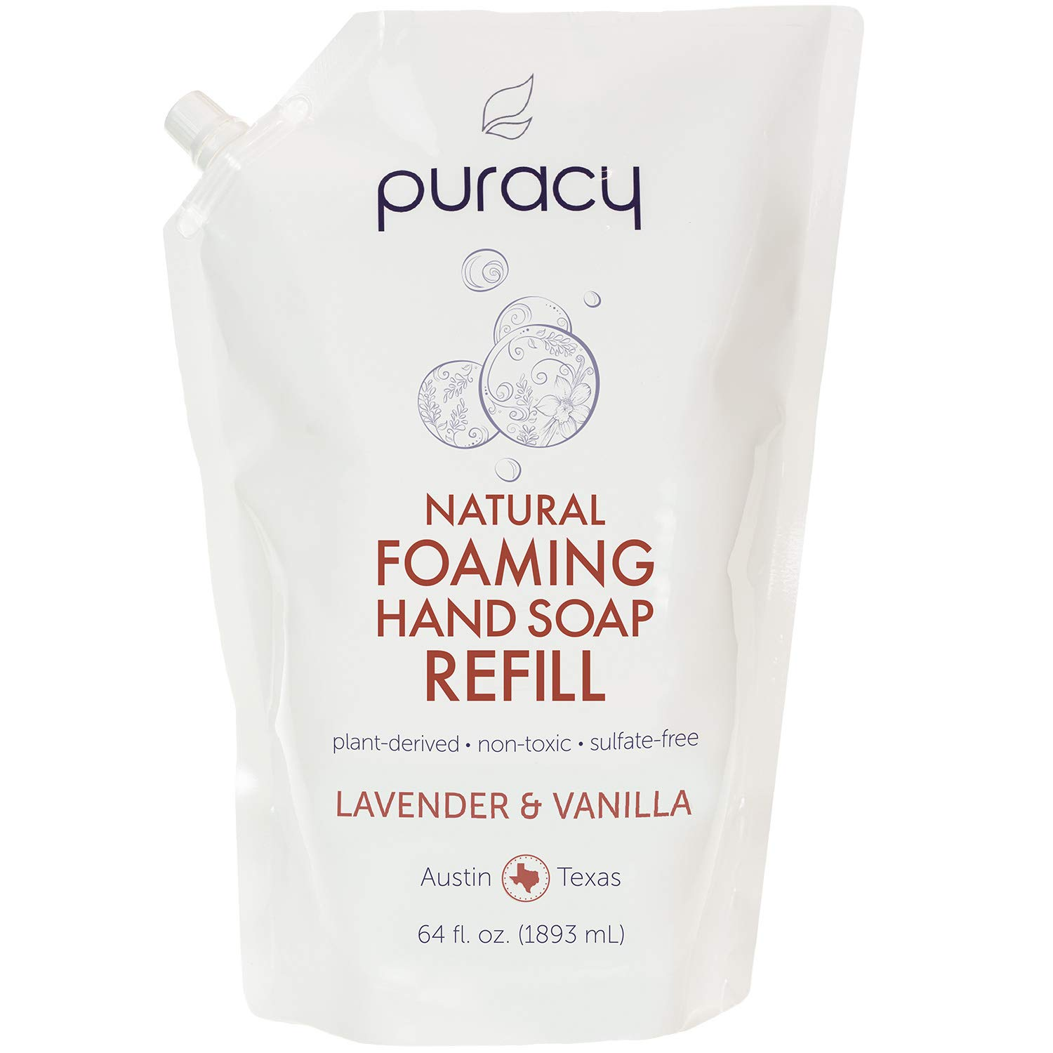 Puracy Sulfate-free Moisturizing Natural Foaming Hand Soap, Lavender and Vanilla, 1893ml Refill Pouch PFHS