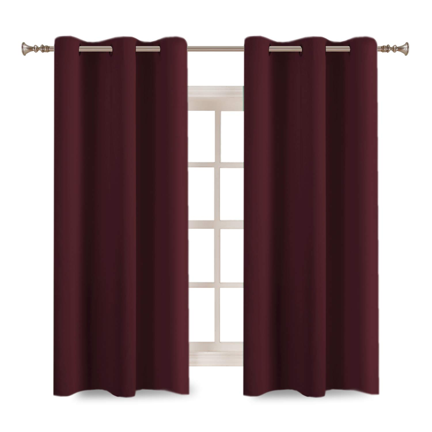 "Turquoize Solid Blackout Drapes, Room Darkening, Roby Wine, Themal Insulated, Grommet/Eyelet Top, Nursery/Living Room Curtains Each Panel 42"" W x 63"" L (Set of 2 Panels)"