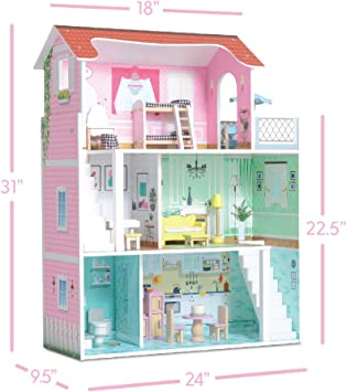 Perfect Wooden Dollhouse for Kids 20 Furniture Pieces Milliard Doll House