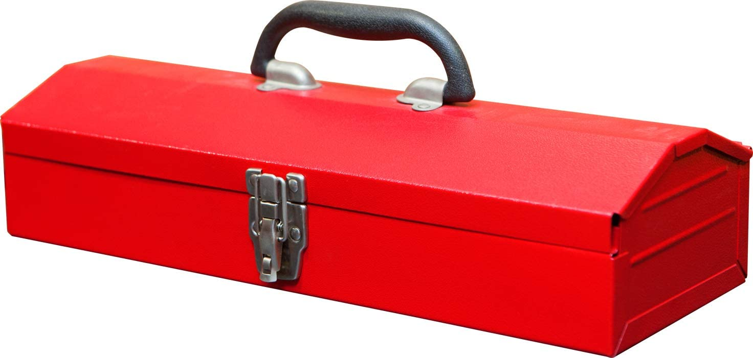 """BIG RED TB102 Torin 16"""" Hip Roof Style Portable Steel Tool Box with Metal Latch Closure, Red: Automotive"""