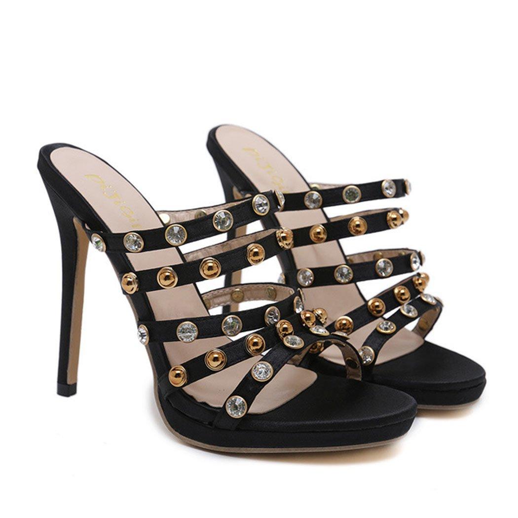 GAOLIXIA Frauen Damen PU Open Toe Sandaleen High Heels Sommer Nieten Strass Hausschuhe Stiletto Heels Outdoor Hausschuhe Pumpen