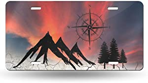 Ouqiuwa Nature Mountain Compass Camper License Plate Decorative Car Front License Plate Aluminum Novelty Metal Car Plate 6 x 12 Inch